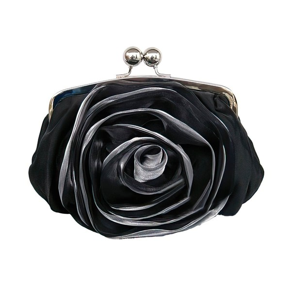 Black Silk Wedding Flower Handbags #LDB03160224