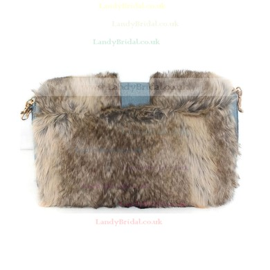 Brown Feather/Fur Wedding Feather/Fur Handbags #LDB03160229