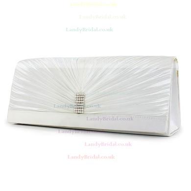 White Silk Wedding Crystal/ Rhinestone Handbags #LDB03160235