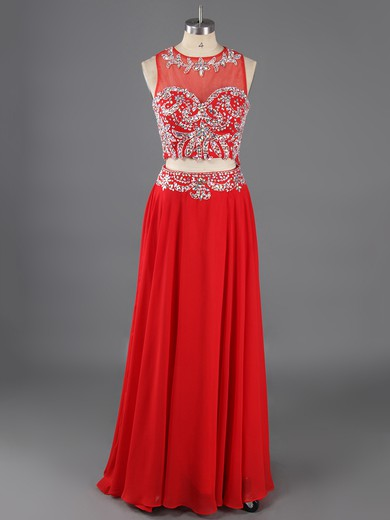 Floor-length Tulle Chiffon Beading Boutique Scoop Neck Two Piece Red Prom Dresses #LDB02017344