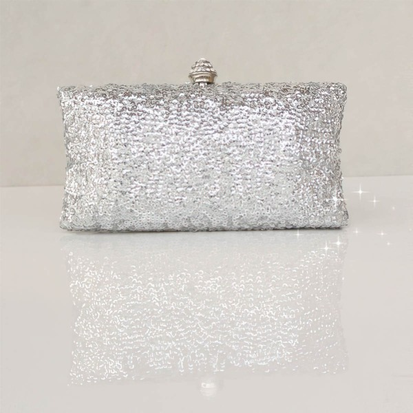 Black Silk Wedding Sequin Handbags #LDB03160239
