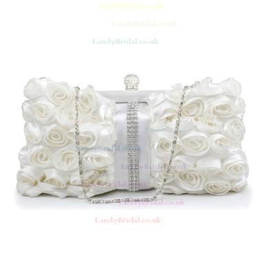 White Silk Wedding Crystal/ Rhinestone Handbags #LDB03160241