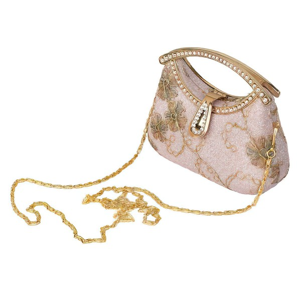 Gold Metal Ceremony & Party Crystal/ Rhinestone Handbags #LDB03160245