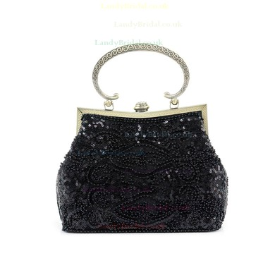 Black Metal Wedding Beading Handbags #LDB03160246