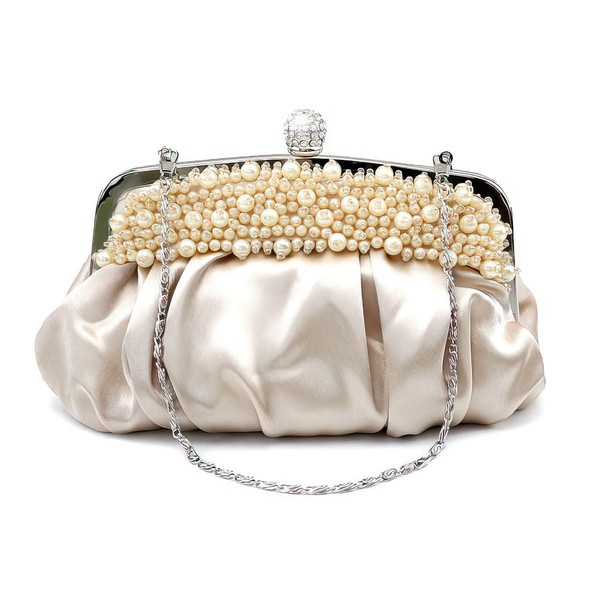 Black Silk Wedding Imitation Pearl Handbags #LDB03160248