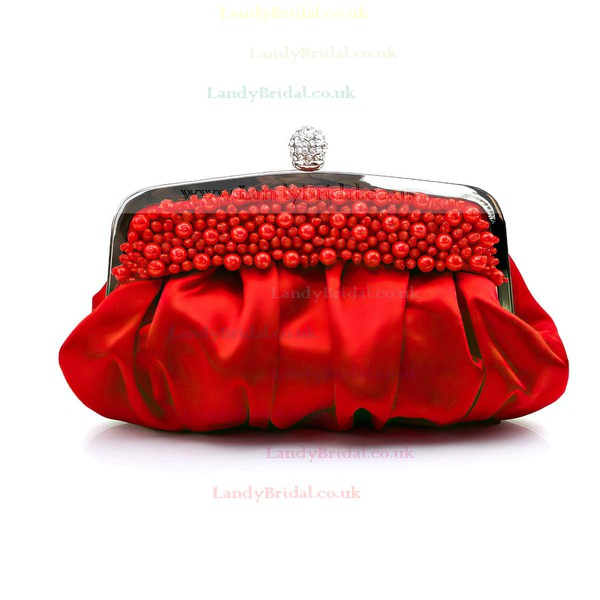 Black Silk Wedding Imitation Pearl Handbags