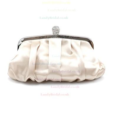 Black Silk Wedding Imitation Pearl Handbags #LDB03160248