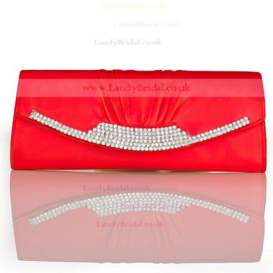 Silver Silk Ceremony & Party Crystal/ Rhinestone Handbags #LDB03160250