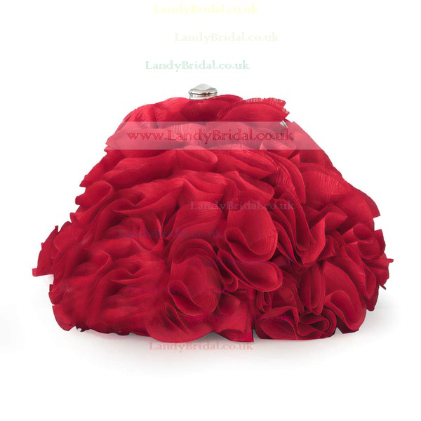 Red Silk Wedding Ruffles Handbags