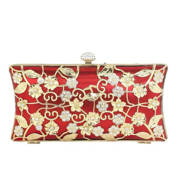 Red Metal Wedding Flower Handbags