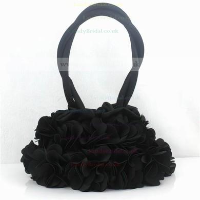 Black Silk Wedding Ruffles Handbags #LDB03160255