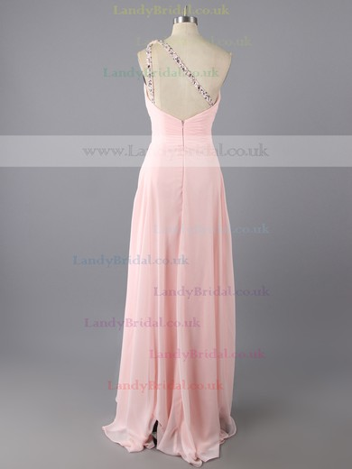 Sweep Train Trendy Chiffon Beading Open Back One Shoulder Pink Prom Dresses #LDB02014701