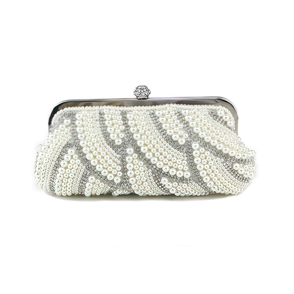 White Pearl Wedding Crystal/ Rhinestone Handbags #LDB03160258