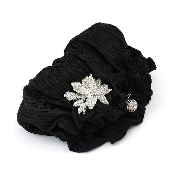 Black Silk Ceremony & Party Crystal/ Rhinestone Handbags #LDB03160261