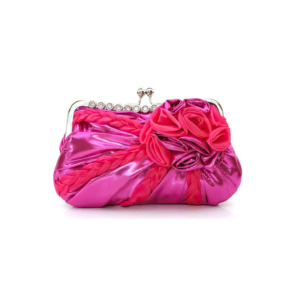 Peach Silk Wedding Metal Handbags