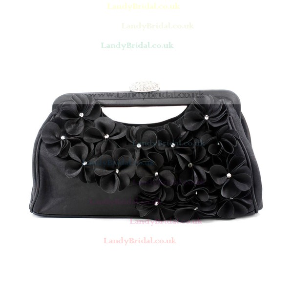 Black Silk Wedding Flower Handbags #LDB03160264