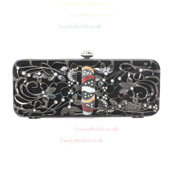 Black Metal Ceremony & Party Crystal/ Rhinestone Handbags