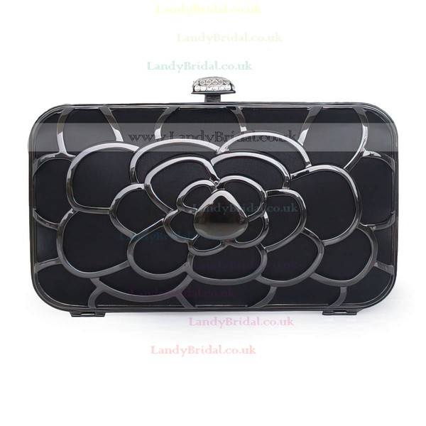 Black Silk Ceremony & Party Metal Handbags