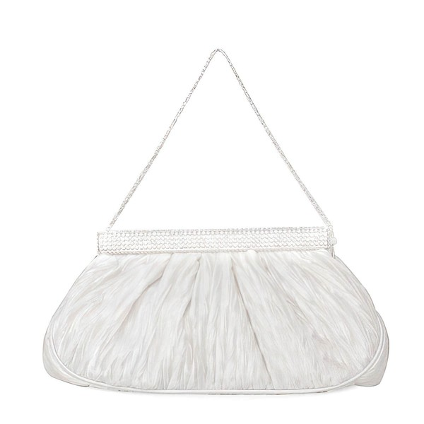 White Silk Wedding Metal Handbags