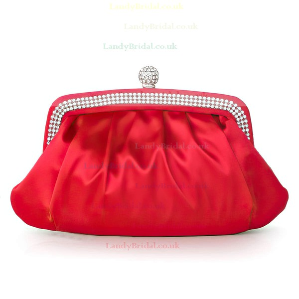 Silver Silk Wedding Crystal/ Rhinestone Handbags #LDB03160276