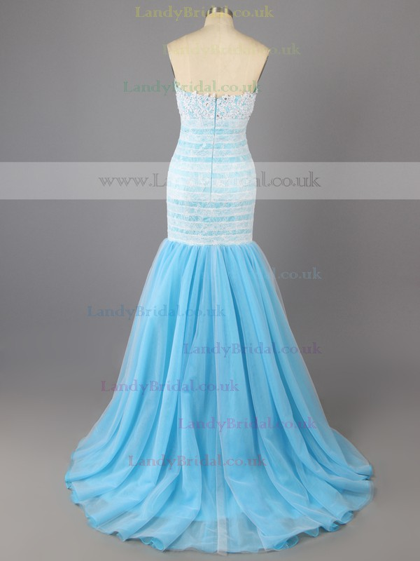 Tulle with Appliques Lace Coolest Trumpet/Mermaid Strapless Blue Prom Dresses #LDB02017370