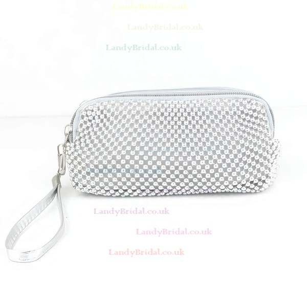 Silver PU Casual & Shopping Imitation Pearl Handbags