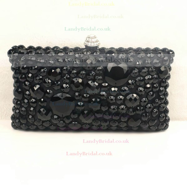 Black Silk Ceremony & Party Crystal/ Rhinestone Handbags #LDB03160281