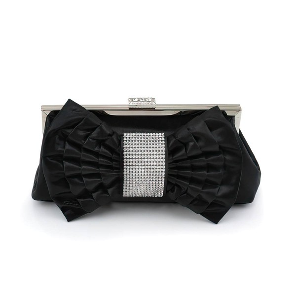 Black Silk Office & Career Crystal/ Rhinestone Handbags