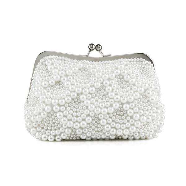 White Pearl Wedding Metal Handbags