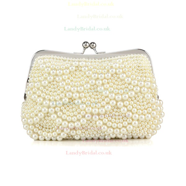 White Pearl Wedding Metal Handbags #LDB03160283