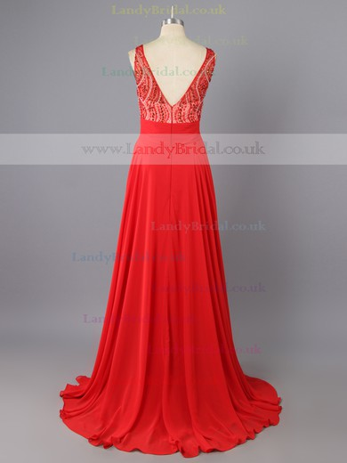 Amazing Red Scoop Neck Chiffon Tulle with Beading Long Prom Dress #LDB02017376
