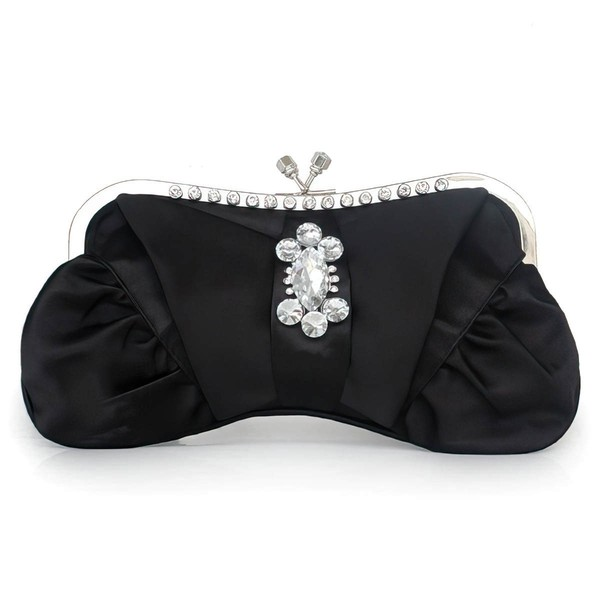 Black Silk Wedding Crystal/ Rhinestone Handbags #LDB03160287