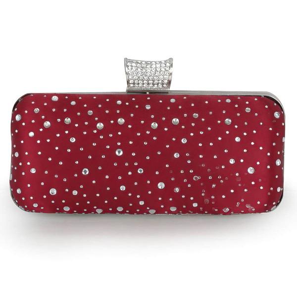 Burgundy Silk Ceremony & Party Crystal/ Rhinestone Handbags