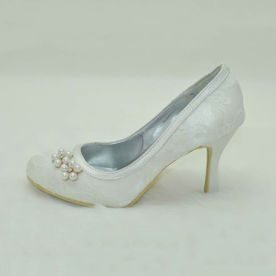 Women's Lace with Crystal Pearl Stiletto Heel Pumps Closed Toe #LDB03030002
