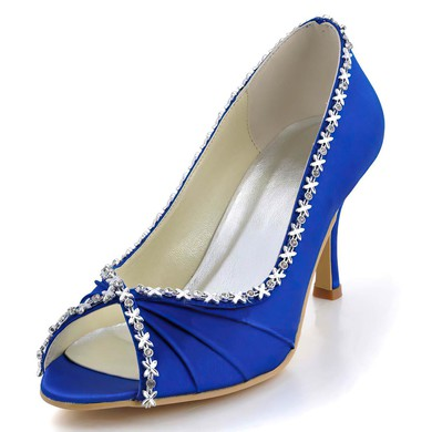 Women's Satin with Crystal Cone Heel Pumps Peep Toe #LDB03030003