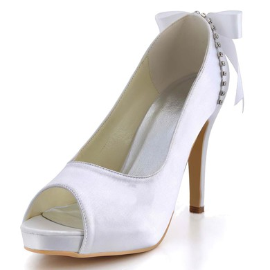 Women's Satin with Bowknot Crystal Stiletto Heel Pumps Peep Toe Platform #LDB03030004