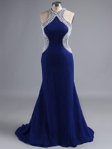 Scoop Neck Blue Trumpet/Mermaid Nice Tulle Beading Open Back Prom Dress #LDB02017382