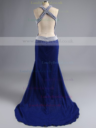 Scoop Neck Blue Trumpet/Mermaid Nice Tulle Beading Open Back Prom Dress #LDB02017382