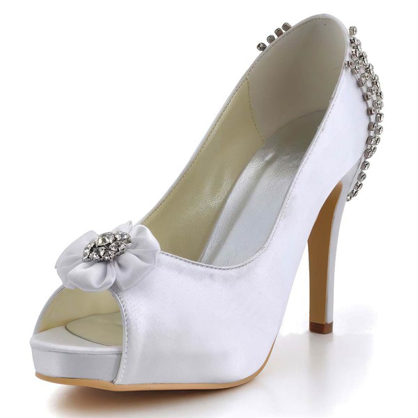 Women's Satin with Flower Crystal Stiletto Heel Pumps Peep Toe Platform #LDB03030005