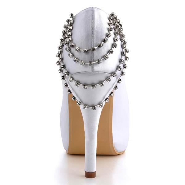 Women's Satin with Flower Crystal Stiletto Heel Pumps Peep Toe Platform