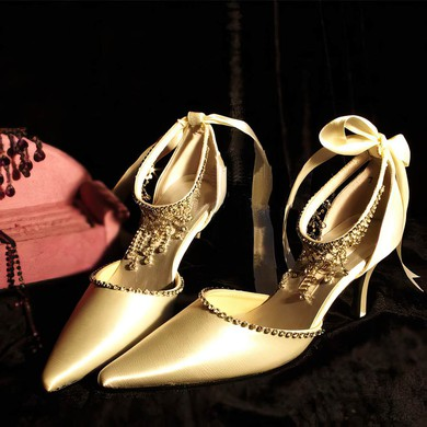 Women's Satin with Ribbon Tie Crystal Stiletto Heel Pumps Closed Toe Sandals #LDB03030006