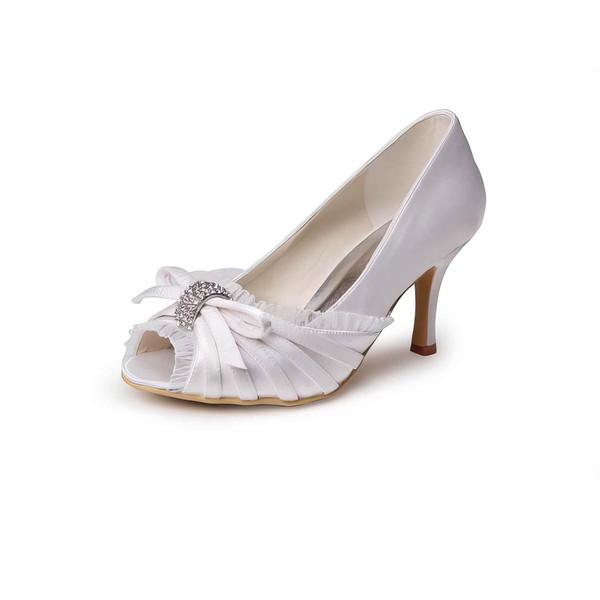 Women's Satin with Crystal Stiletto Heel Peep Toe Pumps #LDB03030010