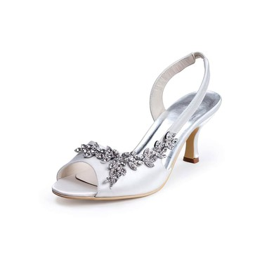 Women's Satin with Crystal Cone Heel Sandals Pumps #LDB03030011