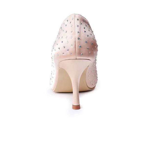 Women's Satin with Beading Stiletto Heel Closed Toe Pumps