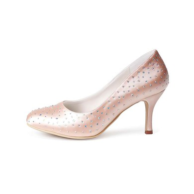 Women's Satin with Beading Stiletto Heel Closed Toe Pumps #LDB03030012
