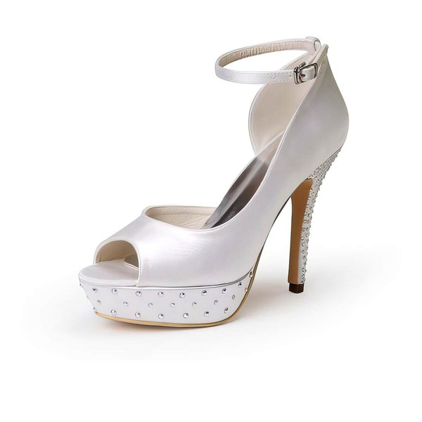 Women's Satin with Buckle Beading Stiletto Heel Pumps Peep Toe Platform