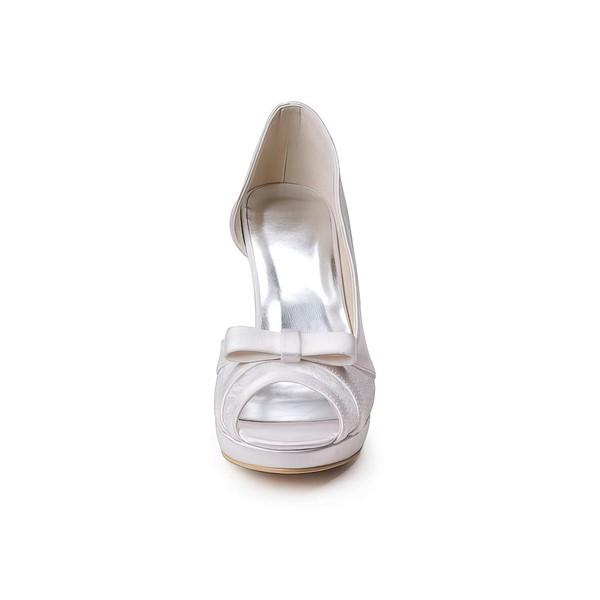 Women's Lace Satin with Bowknot Stiletto Heel Pumps Peep Toe Platform