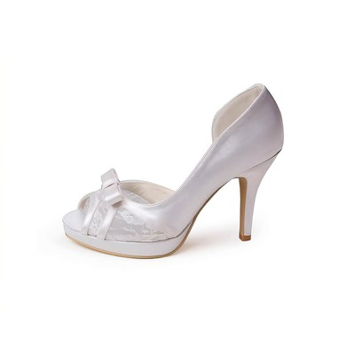 Women's Lace Satin with Bowknot Stiletto Heel Pumps Peep Toe Platform #LDB03030014