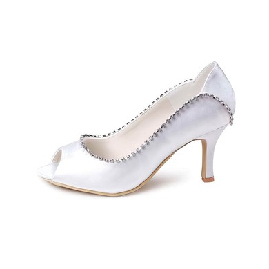 Women's Satin with Crystal Stiletto Heel Peep Toe Pumps #LDB03030015