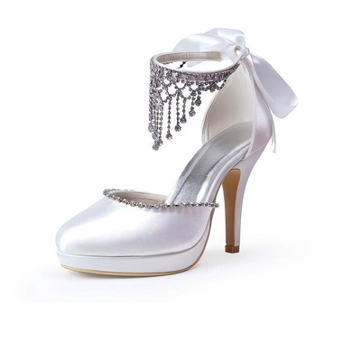 Women's Satin with Crystal Lace-up Stiletto Heel Pumps Closed Toe Platform #LDB03030016